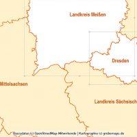 PowerPoint-Karte Sachsen Landkreise Gemeinden, Karte PowerPoint Sachsen Landkreise, Karte PowerPoint Sachsen Gemeinden