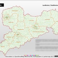 PowerPoint-Karte Sachsen Landkreise Gemeinden Postleitzahlen PLZ-5 (5-stellig), Karte PowerPoint Sachsen PLZ, Karte PowerPoint Sachsen Gemeinden, Karte PowerPoint Sachsen Landkreise