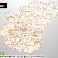 PowerPoint-Karte Rhein-Main-Gebiet Postleitzahlen PLZ-5 (PLZ 5-stellig) mit Landkreisen, Karte PowerPoint Rhein-Main-Gebiet PLZ Landkreise, PowerPoint-Landkarte Rhein-Main PLZ