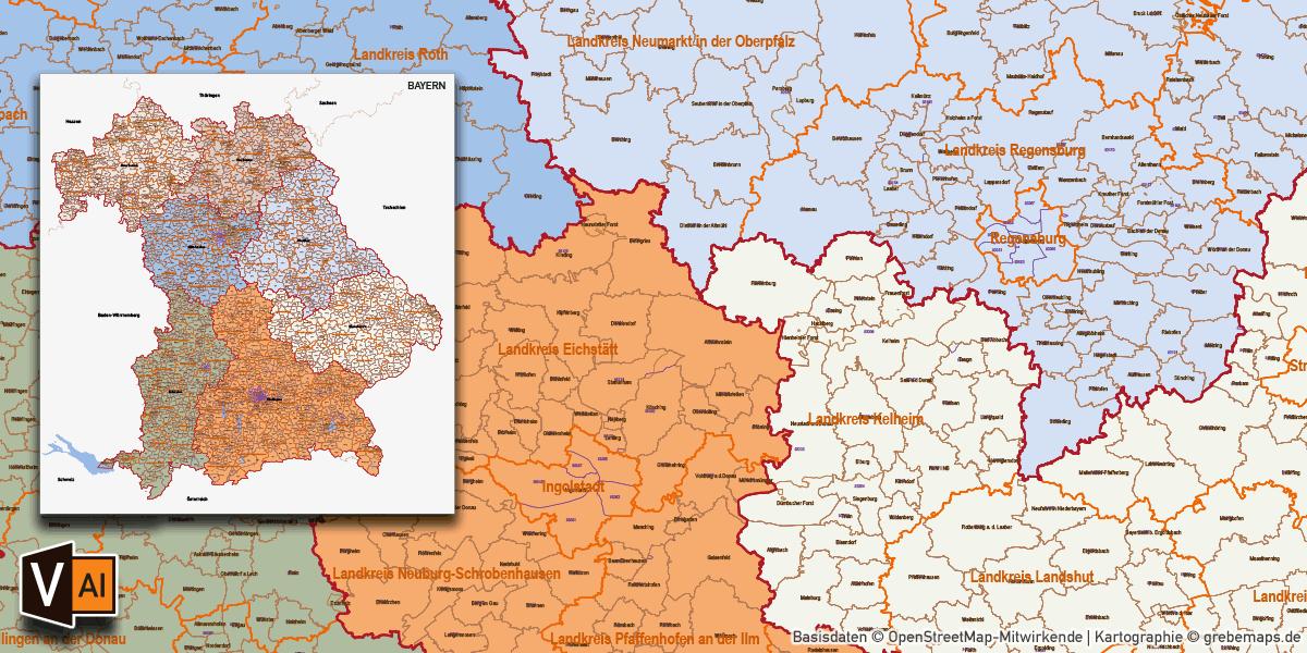 Karte Bayern Gemeinden Landkreise Regierungsbezirke Postleitzahlen PLZ-5 (5-stellig), Vektorkarte, Vektordaten, AI-Datei, download