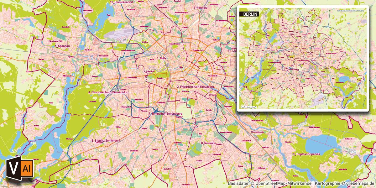 Karte Berlin Stadtteile Stadtbezirke Topographie Gebäude Postleitzahlen PLZ-5 Vektorkarte Vektordaten AI-Datei