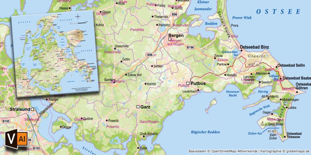 Karte Rügen, Inselkarte Rügen, Karte Insel Rügen, Vektorkarte Rügen, Karte Vektor Rügen download, AI-Datei, download