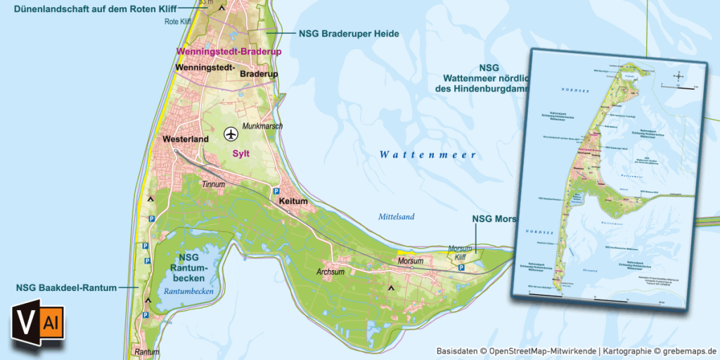 Karte Sylt, Karte Insel Sylt, Inselkarte Sylt, Vektorkarte Sylt, Landkarte Sylt, Karte Vektor Sylt, Karte Sylt für Print download, Karte Sylt AI-Datei