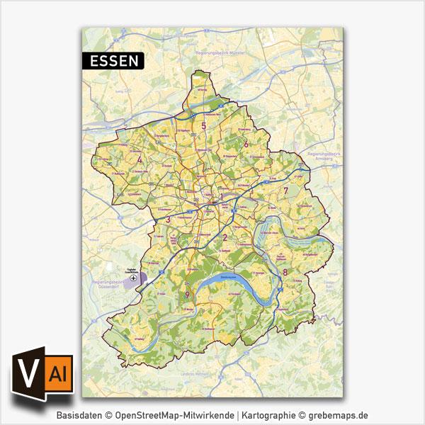 Essen Vektorkarte Stadtbezirke Stadtteile Topographie, Karte Essen Stadtbezirke, Karte Essen Stadtteile, Stadtteile Essen Karte download, Vektorkarte Essen Stadtteile download