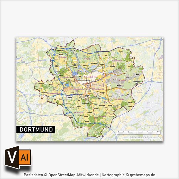 Dortmund Vektorkarte Stadtbezirke Topographie, Karte Dortmund, Vektorkarte Dortmund Stadtbezirke, Stadtkarte Dortmund, Karte Dortmund AI-Datei download