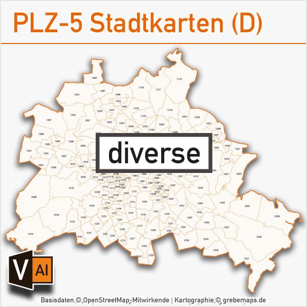 Postleitzahlen-Karten PLZ-5 Stadtkarten Deutschland Vektorkarten, Postleitzahlenkarte PLZ-Karte PLZ-5-Karte PLZ Karte 5-stellig – Bundle mit 61 Städten 29 AI-Dateien download herunterladbar