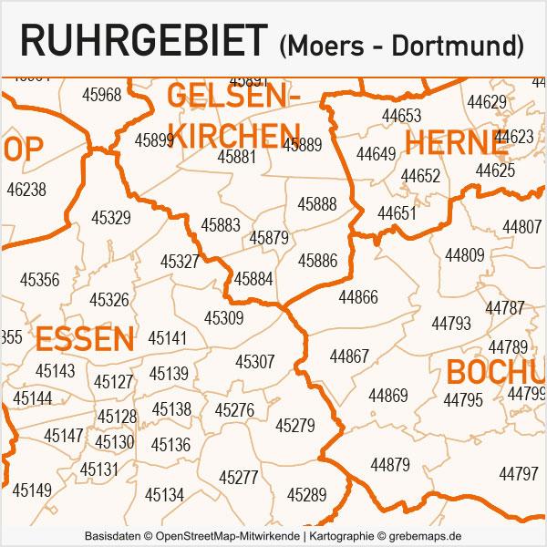 Ruhrgebiet Postleitzahlen-Karte PLZ-5 Gemeinden Vektorkarte, Karte Ruhrgebiet Postleitzahlen, Karte Ruhrgebiet PLZ, Karte Ruhrgebiet Gemeinden, Karte Ruhrgebiet Gemeindegrenzen, Vektorkarte Ruhrgebiet AI-Datei download