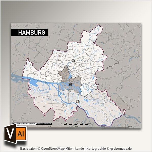 Hamburg Postleitzahlen-Karte PLZ-5 Vektorkarte, Karte Hamburg Postleitzahlen, Karte Hamburg PLZ, Karte Hamburg PLZ-5, Karte Hamburg PLZ 5-stellig, , Vektor-Karte Hamburg, Karte Vektor Hamburg AI-Datei download