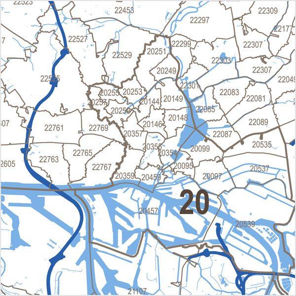 Postleitzahlen Karte.Hamburg Postleitzahlen Karte Plz 5 Vektorkarte Digital