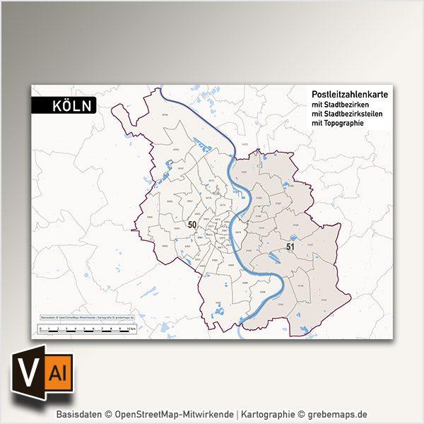Postleitzahlen Karte Brandenburg.Köln Postleitzahlen Karte Plz 5 Vektorkarte Digital