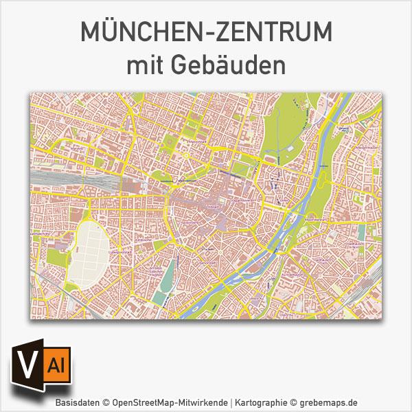 München-Zentrum mit Gebäuden Basiskarte Vektorkarte, Karte München, Vektorkarte München, Stadtplan München Innenstadt mit Gebäuden, Karte München AI-Datei download