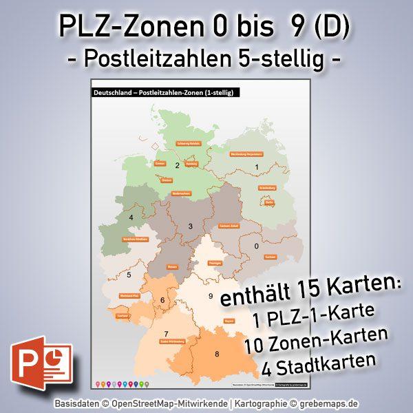PowerPoint-Karte Deutschland Postleitzahlen 5-stellig PLZ-Zone 0 bis 9 (Bundle mit 15 Karten), Karte Postleitzahlen Deutschland PowerPoint, Karte PowerPoint PLZ Deutschland, Karte PowerPoint Postleitzahlen Deutschland Vektordaten