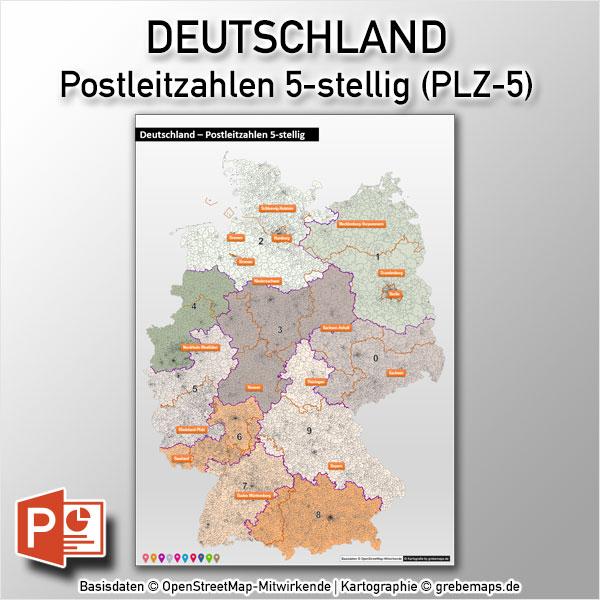 PowerPoint-Karte Deutschland Postleitzahlen PLZ-5 (5-stellig), Karte PowerPoint PLZ Deutschland, Karte PowerPoint PLZ 5-stellig Deutschland, Karte PowerPoint PLZ-5 Deutschland