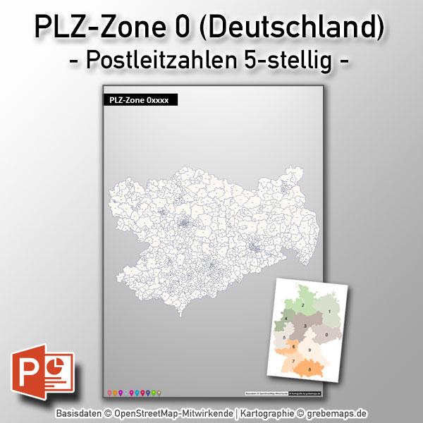 PowerPoint-Karte Deutschland Postleitzahlen 5-stellig PLZ-Zone-0, Karte PowerPoint PLZ Deutschland, Karte PowerPoint Postleitzahlen Deutschland