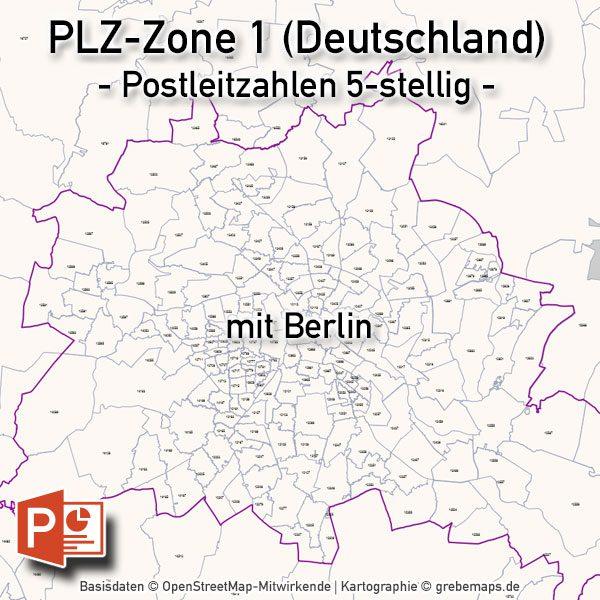 PowerPoint-Karte Deutschland Postleitzahlen 5-stellig PLZ-Zone-1 mit PLZ-5-Karte Berlin, Karte PowerPoint Deutschland PLZ, Karte PowerPoint Deutschland Postleitzahlen, PLZ-Karte Deutschland PowerPoint