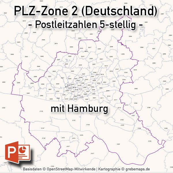 PowerPoint-Karte Deutschland Postleitzahlen 5-stellig PLZ-Zone-2 mit PLZ-5-Karte Hamburg, PLZ-Karte Deutschland PowerPoint, PLZ-Karte Hamburg PowerPoint, Karte Postleitzahlen Hamburg PowerPoint, Vektorkarte PLZ Deutschland PowerPoint