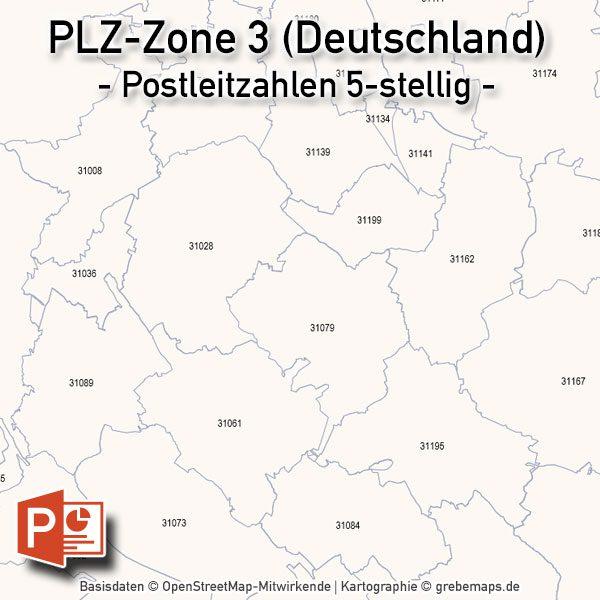 PowerPoint-Karte Deutschland Postleitzahlen 5-stellig PLZ-Zone-3, Karte PowerPoint PLZ Deutschland, Deutschland PLZ PowerPoint Karte, Karte PLZ Deutschland Powerpoint