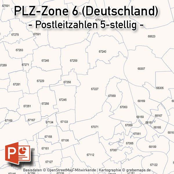 PowerPoint-Karte Deutschland Postleitzahlen 5-stellig PLZ-Zone-6, Karte PowerPoint PLZ Deutschland
