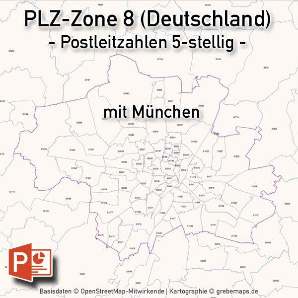 Powerpoint Karte Deutschland Postleitzahlen 5 Stellig Plz Zone 8
