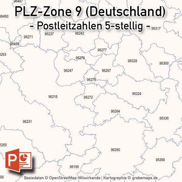 PowerPoint-Karte Deutschland Postleitzahlen 5-stellig PLZ-Zone-9, Karte Powrepoint PLZ Deutschland