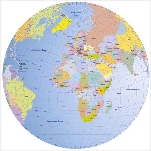 Globus Karte.Weltkarte Globus Lambert Azimutal Vektorkarte Bundle 3