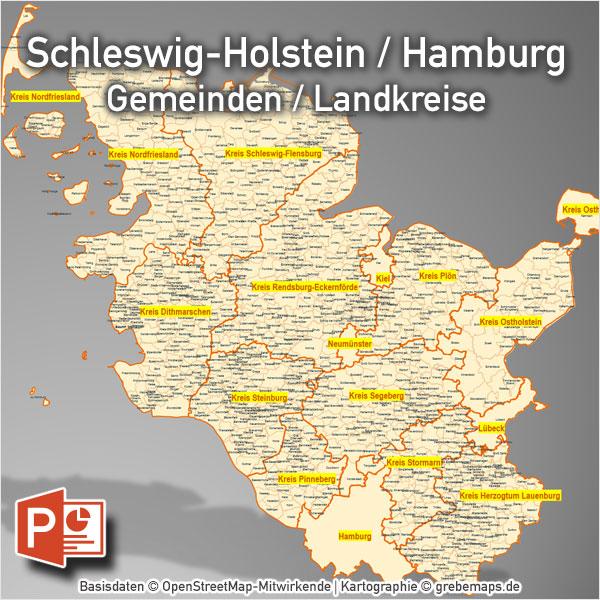 PowerPoint-Karte Schleswig-Holstein Hamburg Gemeinden Landkreise, Karte PowerPoint Schleswig-Holstein Gemeinden, Karte PowerPoint Schleswig-Holstein Landkreise, Karte PowerPoint SH Gemeinden, Karte Bundesland Schleswig-Holstein Gemeinden PowerPoint