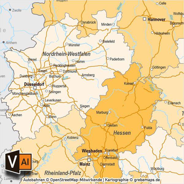Deutschland Bundeslander Autobahnen Vektorkarte Mit Angrenzenden