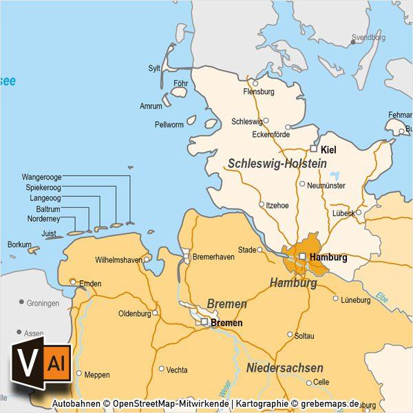 Deutschland Karte Autobahnen Und Städte.Deutschland Bundesländer Autobahnen Vektorkarte Mit Angrenzenden Ländern Digital