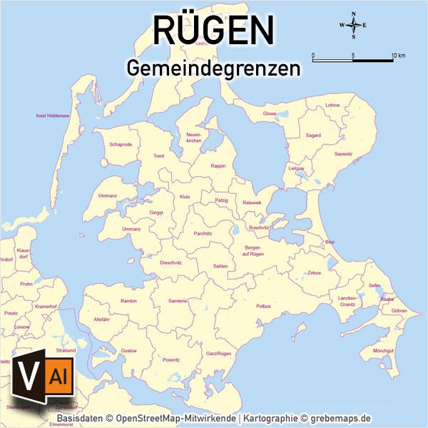 Rügen Gemeinden Vektorkarte, Karte Insel Rügen, Inselkarte Rügen, Vektorkarte Rügen, Karte Vektor Rügen, AI-Datei, download, Basiskarte, Übersichtskarte