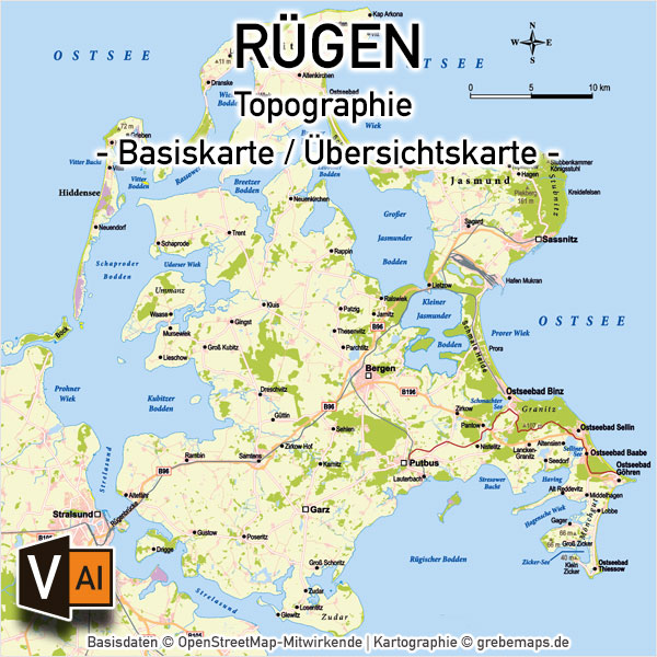Rügen Vektorkarte mit Gemeindegrenzen Topographie, Karte Insel Rügen, Basiskarte Rügen, Übersichtskarte Rügen mit Gemeindegrenzen und Gemeindenamen, Vektorkarte Rügen, Inselkarte Rügen download, AI-Datei, Print