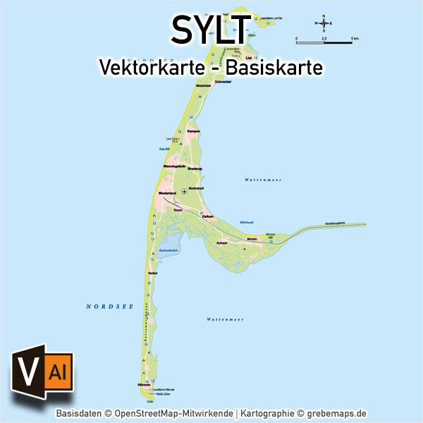 Sylt Basiskarte (DIN A4) Vektorkarte, Karte Insel Sylt, Basiskarte Sylt, Übersichtskarte Sylt, Vektorkarte Sylt download, AI-Datei, download, Vektordaten, Vektorgrafik Sylt