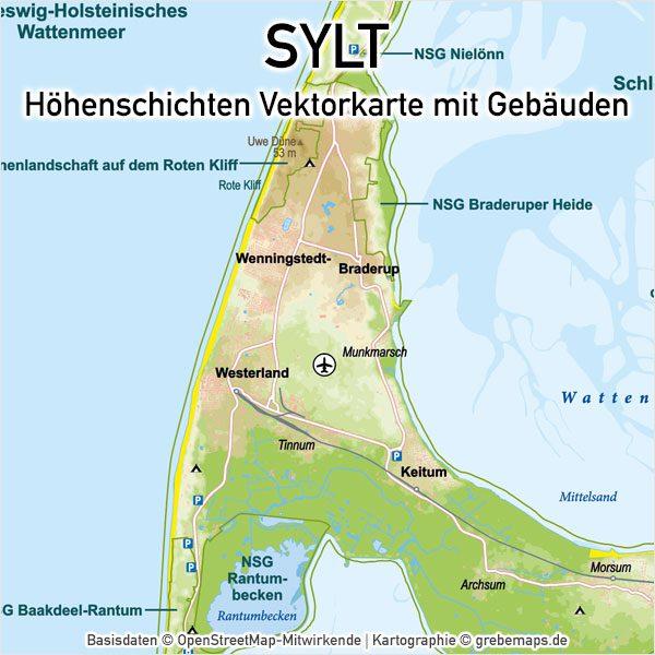 Karte Von Sylt.Sylt Vektorkarte Höhenschichten Karte Mit Gebäuden Din A4 Digital