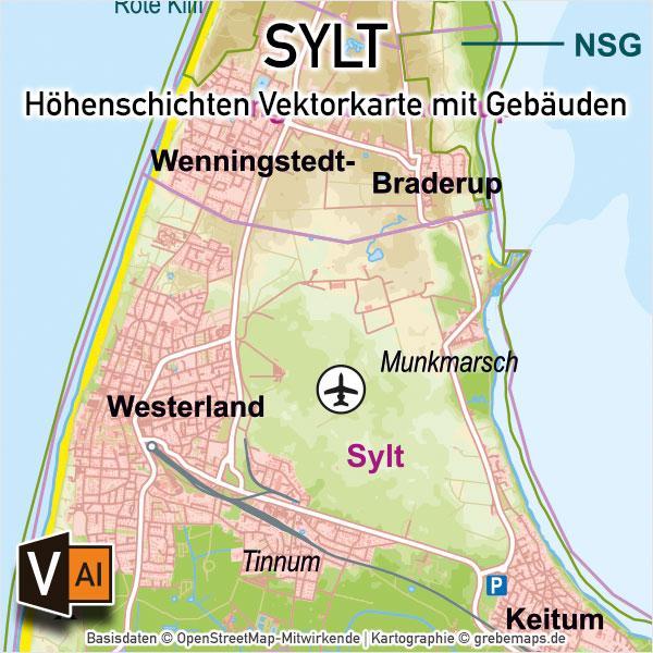 Sylt Vektorkarte Höhenschichten – Karte mit Gebäuden (DIN A4), Karte Sylt, Inselkarte Sylt, Vektorkarte Sylt für Print Druck download AI-Datei, Karte Vektor Sylt, Kartengrafik