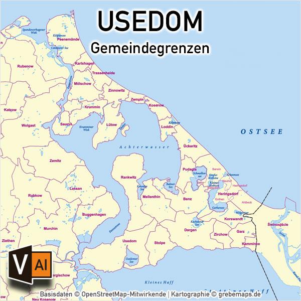 Usedom Gemeinden Vektorkarte Inselkarte, Karte Insel Usedom Gemeinden, Inselkarte Usedom, Vektorkarte Insel Usedom download, Gemeindekarte Usedom