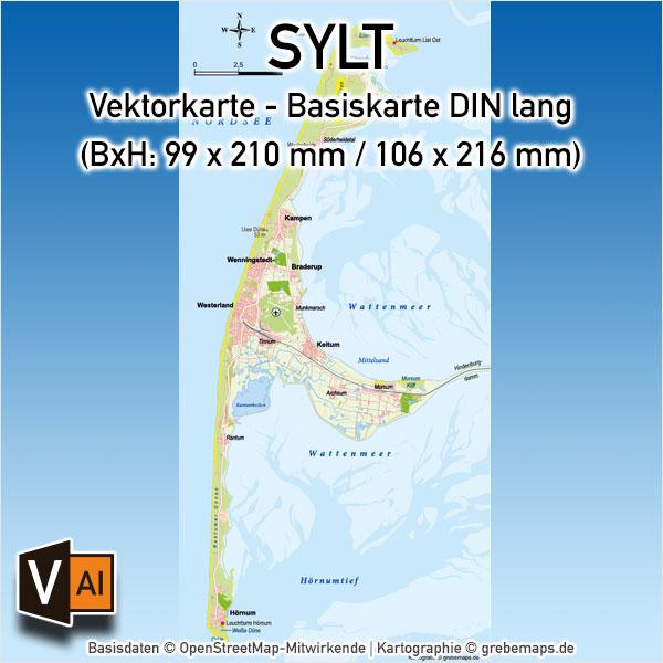 Sylt Vektorkarte Basiskarte (DIN lang), Karte Insel Sylt, Basiskarte Sylt, Übersichtskarte Sylt, Karte Sylt für Print download, Karte Sylt AI-Datei Vektor, Vektorkarte Sylt für Print