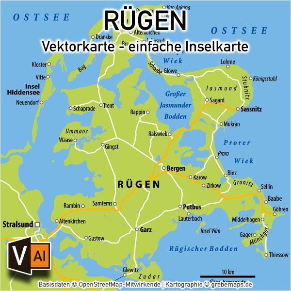 Rügen Vektorkarte einfache Inselkarte (9×9 cm), Karte Insel Rügen für Flyer Folder Print Druck
