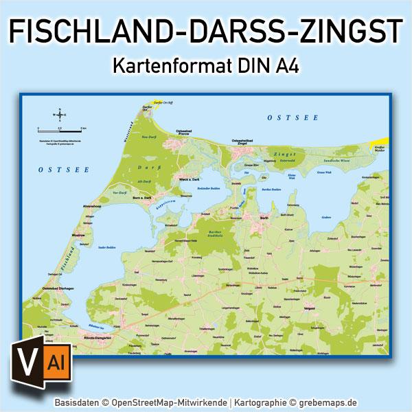 Fischland-Darß-Zingst Vektorkarte Basiskarte (DIN A4), Karte Fischland-Darß-Zingst, Basiskarte Fischland-Darß-Zingst, Übersichtskarte Fischland-Darß-Zingst, Vektorkarte Fischland-Darß-Zingst, AI-Datei, download