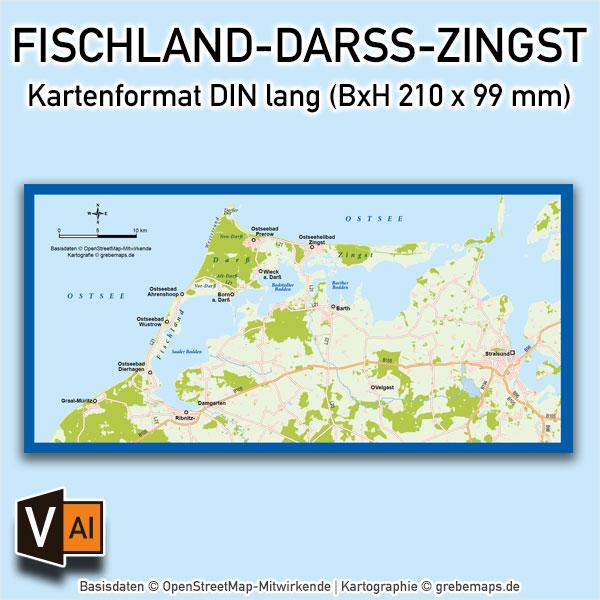 Karte Fischland-Darß-Zingst Vektorkarte (DIN lang) / Karte Fischland-Darß-Zingst / Basiskarte Fischland-Darß-Zingst / Übersichtskarte Fischland-Darß-Zingst, Karte Fischland Darß Zingst AI-Datei Vektorkarte download