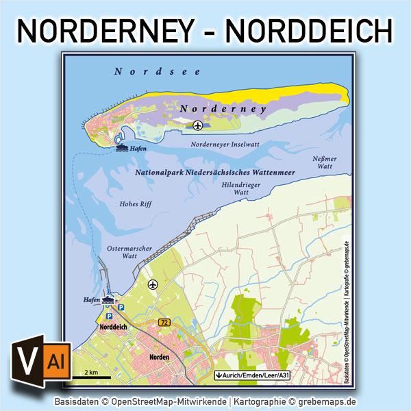 Norderney Norddeich Vektorkarte Infokarte / Karte Insel Norderney Norddeich / Vektorkarte Norderney Norddeich / Übersichtskarte Norderney Norddeich / Karte Norderney, Karte Norderney, Vektorkarte Norderney AI-Datei download
