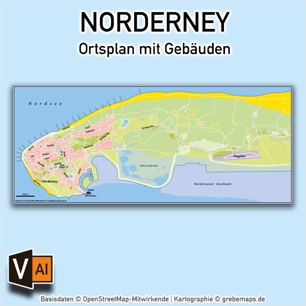 Norderney Ortsplan mit Gebäuden Vektorkarte / Karte Norderney / Ortsplan Norderney mit Gebäuden / Vektorkarte Norderney / Übersichtskarte Norderney, Karte Norderney Ortsplan download AI-Datei Vektorkarte Print Druck