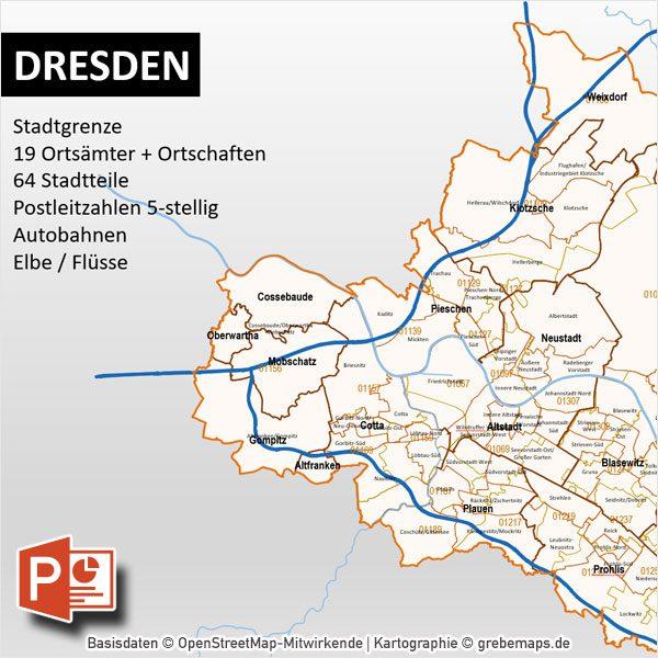 stadtbezirke dresden karte PowerPoint Karte Dresden Postleitzahlen PLZ 5 Stadtteile