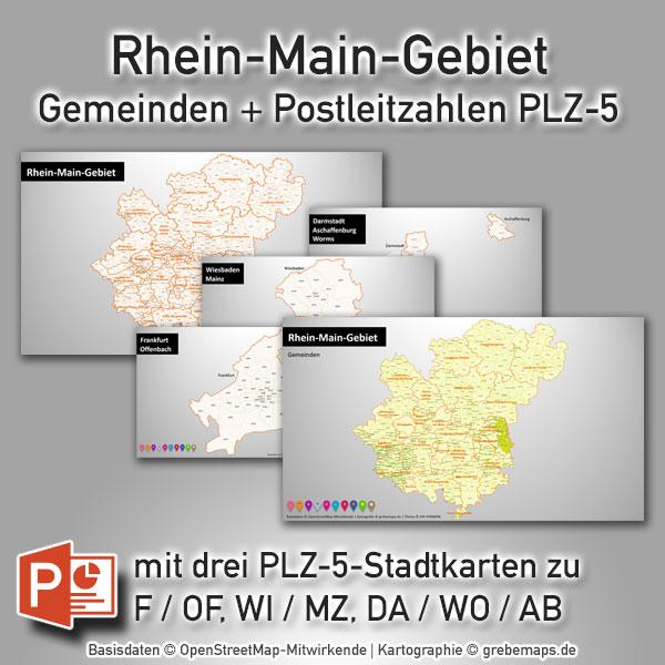 PowerPoint-Karte Rhein-Main-Gebiet Landkreise Gemeinden Postleitzahlen PLZ-5 (PLZ 5-stellig), Karte PowerPoint Rhein-Main PLZ, Karte PowerPoint Rhein-Main Postleitzahlen, Karte PowerPoint Rhein-Main Gemeinden, Karte PowerPoint Rhein-Main Landkreise, Vektorkarte PowerPoint Rhein-Main