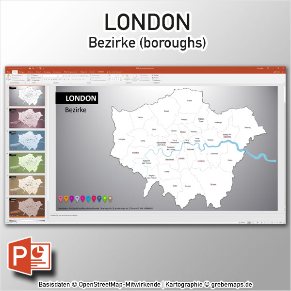 PowerPoint-Karte London Bezirke Boroughs, London PowerPoint-Karte Bezirke Boroughs, Stadtbezirke London Karte Powerpoint, Vektorkarte London Bezirke für Powerpoint