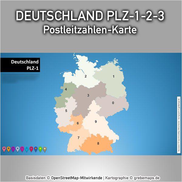 PowerPoint-Karte Deutschland Postleitzahlen PLZ-1-2-3, Karte PowerPoint Deutschland PLZ, Karte PowerPoint Deutschland Postleitzahlen, Karte PowerPoint Deutschland PLZ 1-stellig, Karte PowerPoint Deutschland PLZ 2-stellig, Karte PowerPoint Deutschland PLZ 3-stellig