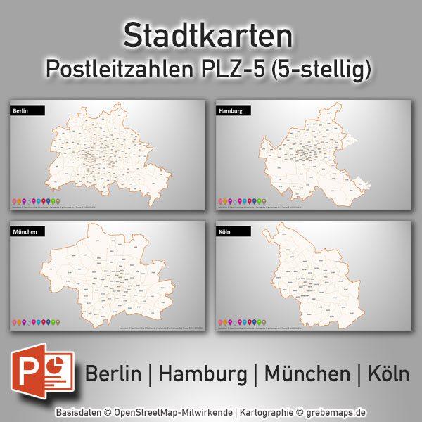 Postleitzahlen München Karte.Powerpoint Karte Berlin Hamburg München Köln Postleitzahlen Plz 5 5 Stellig Digital