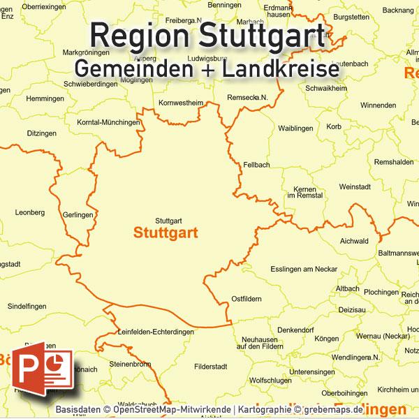 PowerPoint-Karte Region Stuttgart Gemeinden Landkreise, Karte PowerPoint Region Stuttgart Gemeinden, Karte PowerPoint Region Stuttgart Landkreise, Vektorkarte PowerPoint Region Stuttgart Gemeinden Landkreise