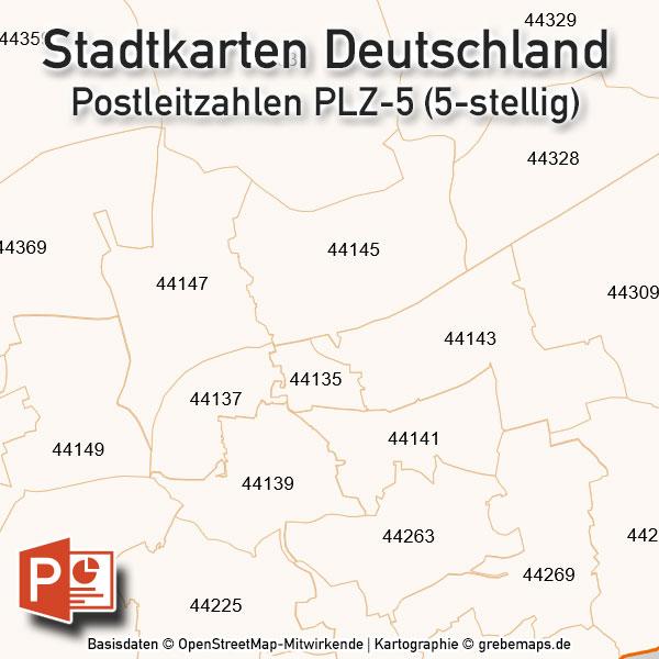 PowerPoint-Karte Stadtkarten Postleitzahlen PLZ-5 Deutschland (PLZ 5-stellig) – 73 Städte, Karte PowerPoint Postleitzahlen Berlin Hamburg München Köln