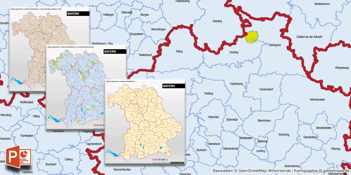 Karte Plz.Powerpoint Karte Bayern Landkreise Gemeinden Postleitzahlen Plz 5 5