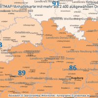 PowerPoint-Karte Deutschland Postleitzahlen PLZ-2 (2-stellig) mit Landkreisen Bundesländern (DIN A2) ausgewählten Orten, PLZ-Karte Deutschland PowerPoint, PLZ-2-Karte Deutschland PowerPoint. Karte PLZ-2 Deutschland PowerPoint, Karte PLZ 2-stellig Deutschland PowerPoint