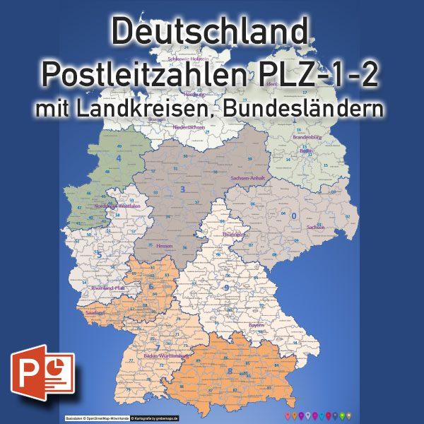 Powerpoint Karte Deutschland Postleitzahlen Plz 2 2 Stellig Mit